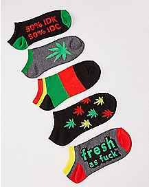 Pot Leaf Rasta No Show Socks - 5 Pair