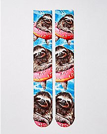 Donut Sloth Knee High Socks