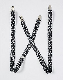 Black and White Pot Leaf Suspenders