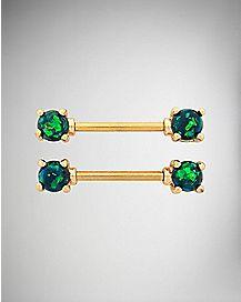 Goldplated Opal-Effect Nipple Barbells 1 Pair - 14 Gauge