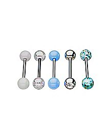 Multi-Pack Pearlized Iridescent Barbells 5 Pack - 14 Gauge