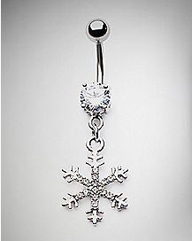 CZ Snowflake Dangle Belly Ring - 14 Gauge