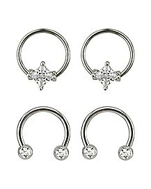 Multi-Pack CZ Horsehoe Rings and Captive Rings 2 Pair - 16 Gauge