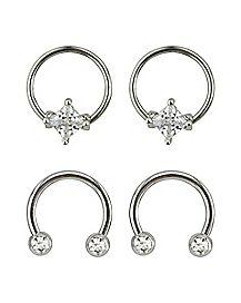 Multi-Pack CZ Horsehoe Rings and Captive Rings 2 Pair - 16 Gauge