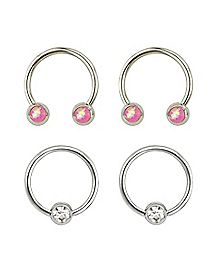 Pink Multi-Pack Horsehoe and Captive Rings 2 Pair - 16 Gauge