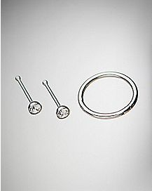 Multi-Pack Hinged Hoop Nose Ring and Nose Studs 3 Pack - 18 Gauge