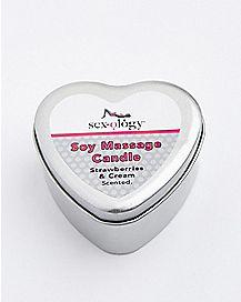 Strawberry Champagne Heart Massage Candle - Sexology