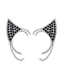 Black and Silver Cat Ear Ear Cuffs - 1 Pair