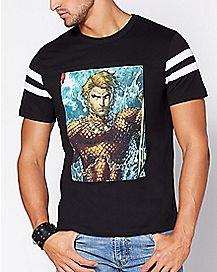 Varsity Aquaman T Shirt - DC COmics