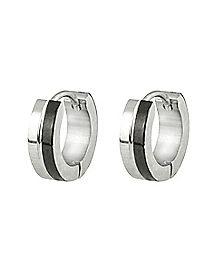Silverplated Black Huggie Earrings - 18 Gauge