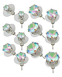 Multi-Pack Round CZ Stud Earrings 6 Pair - 20 Gauge