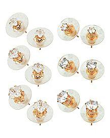 Rose Goldplated Square CZ Stud Earrings 6 Pair - 20 Gauge