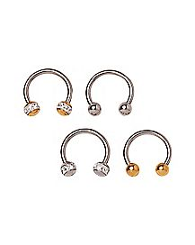 Gold-Tone and CZ Horseshoe Ring 4 Pack - 16 Gauge
