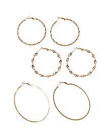 Twist Hoop Earrings - 3 Pack