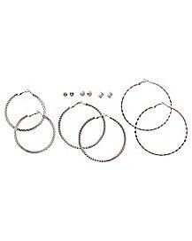 Silver-Tone Hoop and Stud Earrings - 6 Pair