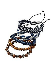 Brown and Blue Braided Bracelet - 5 Pack