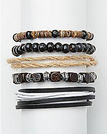 Black Bead and Rope Bracelet - 5 Pack