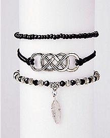 Multi-Pack Black Beaded Bracelets - 3 Pack