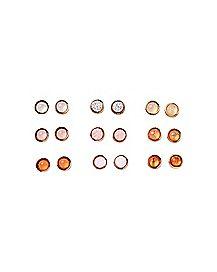 Pink and Orange Stud Earrings - 9 Pair