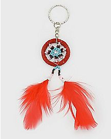 Red Dream Catcher Keychain