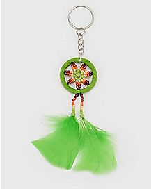 Green Dream Catcher Keychain