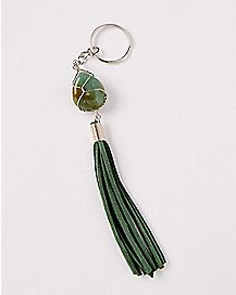 Green Agate and Sueded Tassel Keychain