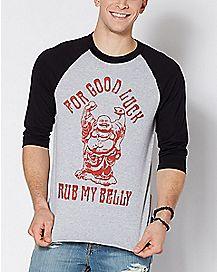 Raglan Buddha Rub My Belly T Shirt