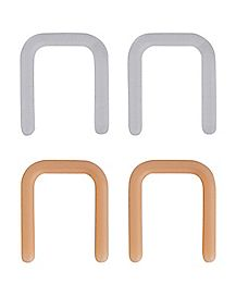 Clear and Beige Septum Retainers 6 Pack - 20 Gauge