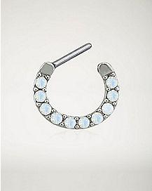 Opal-Effect Clicker Septum Ring - 16 Gauge