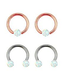 Opal Effect Horseshoe and Captive Ring 2 Pair - 14 Gauge