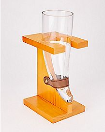 Horn Beer Glass With Wooden Base - 16 oz.