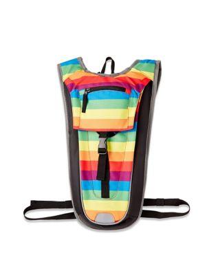 rainbow strip hydration backpack