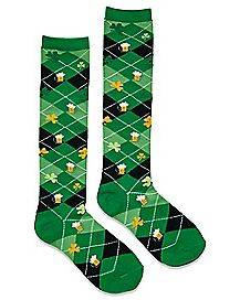 Shamrock Beer Argyle Knee High Socks