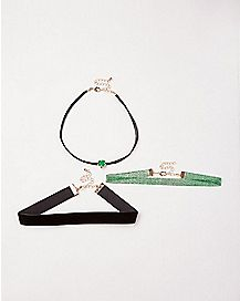 Multi-Pack Shamrock Choker Necklaces - 3 Pack