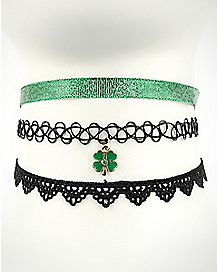 Shamrock Saint Patrick's Day Choker Necklaces - 3 Pack