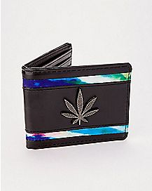 Pot Leaf Rainbow Stripe Bifold Wallet