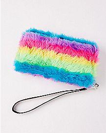 Faux Fur Rainbow Zipper Wallet