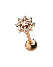 Rose Goldplated Flower Cartilage Earring - 18 Gauge
