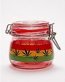 Rasta Leaf Storage Jar - 16 oz.