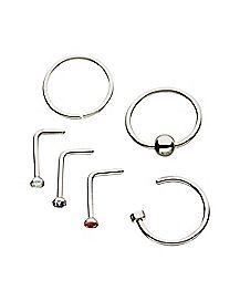 Colored CZ L Bend & Hoop Nose Ring 6 Pack - 20 Gauge