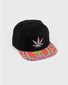 Trippy Pot Leaf Snapback Hat