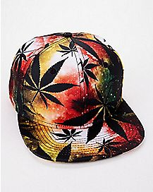 Rasta Pot Leaf Snapback Hat