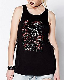 Lace Up Flower Skeleton Grateful Dead Tank Top