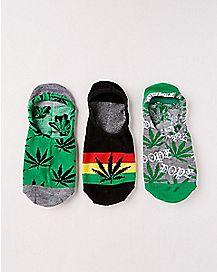 Pot Leaf No Show Socks - 3 Pair