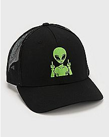 Middle Finger Alien Trucker Hat