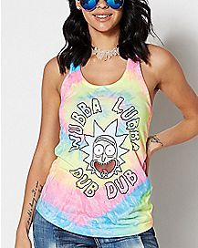 Tie Dye Wubba Lubba Dub Dub Tank Top - Rick and Morty
