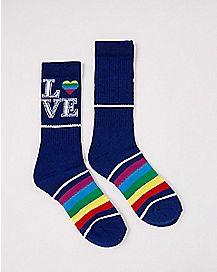 Rainbow Love Crew Socks