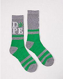 Pot Leaf Dope Crew Socks
