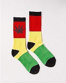 Rasta Weed Leaf Socks