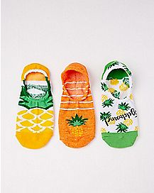 Pineapple No Show Socks - 3 Pair